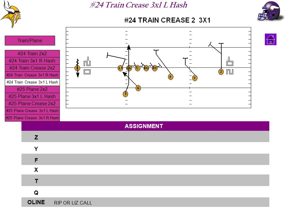#24 Train Crease 3x1 L Hash ASSIGNMENT Z Y F X T Q OLINE RIP OR LIZ CALL #24 Train 2x2 #24 Train 3x1 R Hash #24 Train Crease 2x2 #24 Train Crease 3x1