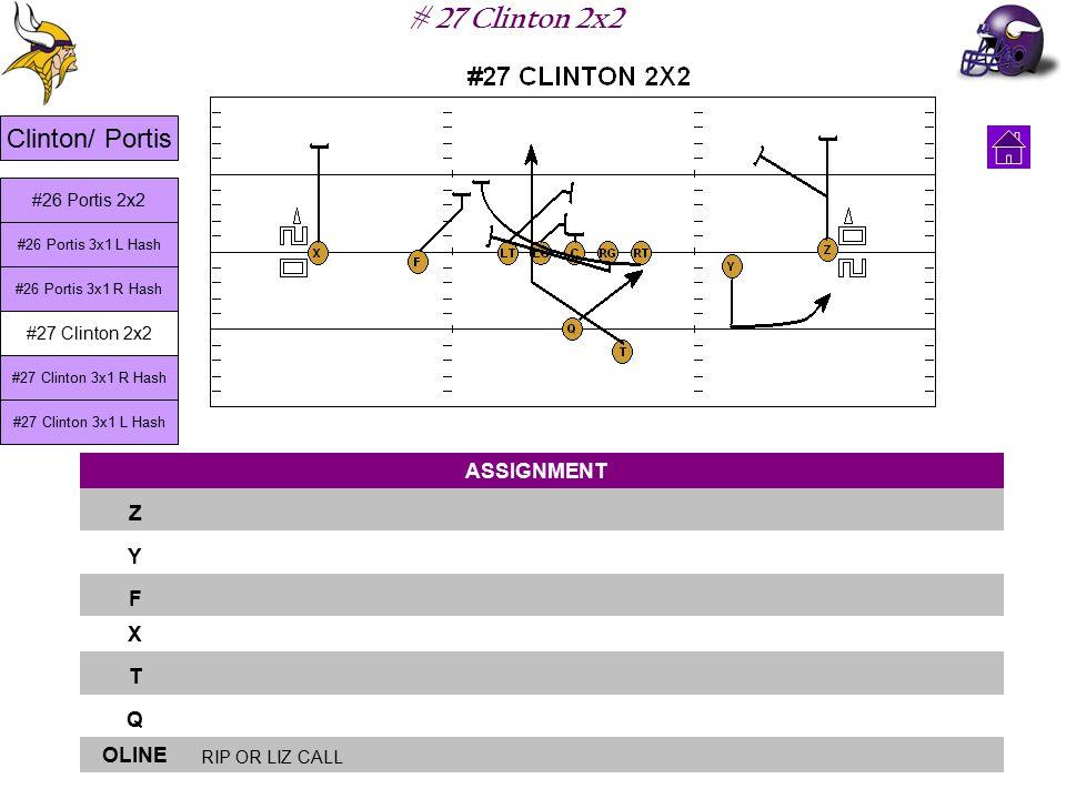 # 27 Clinton 2x2 ASSIGNMENT Z Y F X T Q OLINE RIP OR LIZ CALL Clinton/ Portis #26 Portis 3x1 L Hash #26 Portis 3x1 R Hash #27 Clinton 2x2 #27 Clinton 3x1 R Hash #27 Clinton 3x1 L Hash #26 Portis 2x2