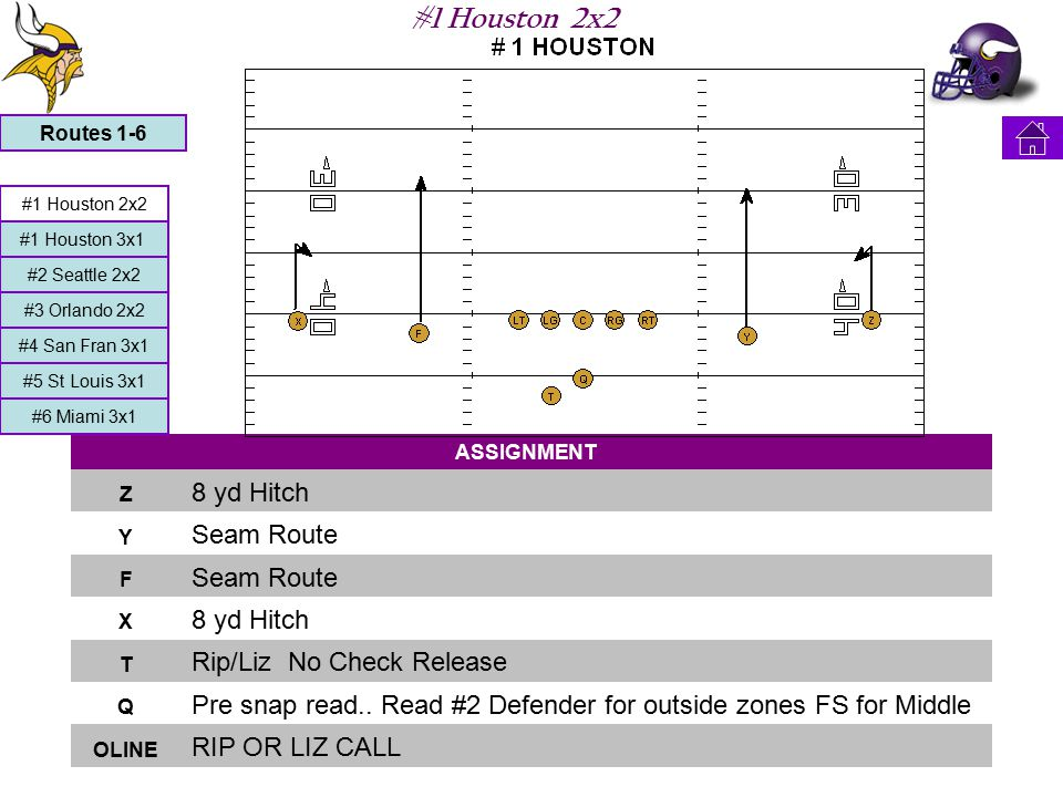 #1 Houston 2x2 ASSIGNMENT Z 8 yd Hitch Y Seam Route F X 8 yd Hitch T Rip/Liz No Check Release Q Pre snap read..