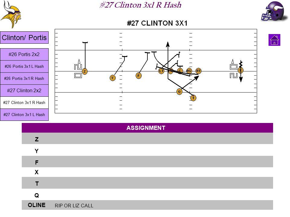 #27 Clinton 3x1 R Hash ASSIGNMENT Z Y F X T Q OLINE RIP OR LIZ CALL Clinton/ Portis #26 Portis 3x1 L Hash #26 Portis 3x1 R Hash #27 Clinton 2x2 #27 Clinton 3x1 R Hash #27 Clinton 3x1 L Hash #26 Portis 2x2