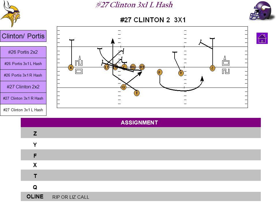#27 Clinton 3x1 L Hash ASSIGNMENT Z Y F X T Q OLINE RIP OR LIZ CALL Clinton/ Portis #26 Portis 3x1 L Hash #26 Portis 3x1 R Hash #27 Clinton 2x2 #27 Clinton 3x1 R Hash #27 Clinton 3x1 L Hash #26 Portis 2x2