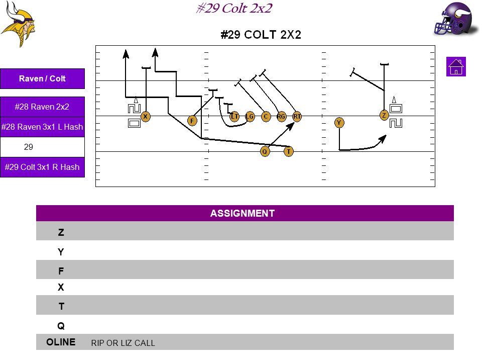 #29 Colt 2x2 ASSIGNMENT Z Y F X T Q OLINE RIP OR LIZ CALL Raven / Colt #28 Raven 2x2 #28 Raven 3x1 L Hash #29 Colt 2x2 #29 Colt 3x1 R Hash