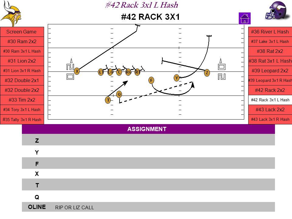 #42 Rack 3x1 L Hash ASSIGNMENT Z Y F X T Q OLINE RIP OR LIZ CALL Screen Game #30 Ram 2x2 #30 Ram 3x1 L Hash #31 Lion 2x2 #31 Lion 3x1 R Hash #32 Doubl