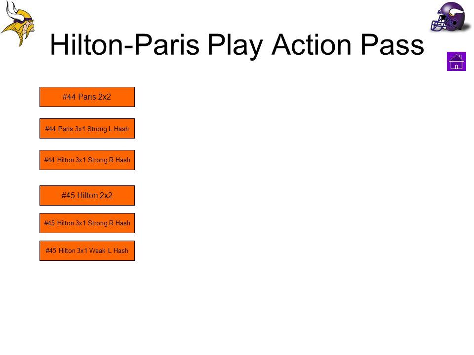 Hilton-Paris Play Action Pass #44 Paris 2x2 #44 Paris 3x1 Strong L Hash #45 Hilton 2x2 #45 Hilton 3x1 Strong R Hash #45 Hilton 3x1 Weak L Hash #44 Hilton 3x1 Strong R Hash