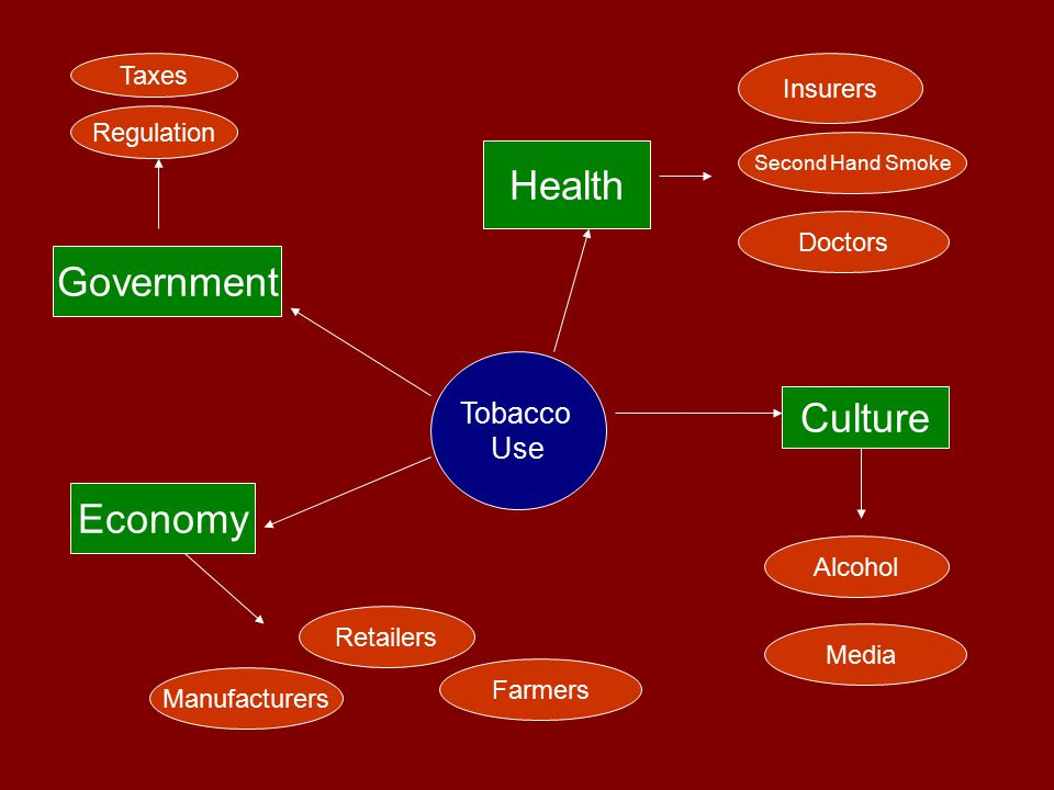 Tobacco Use Health Economy Culture Government Farmers Retailers Manufacturers Doctors Insurers Second Hand Smoke Alcohol Media Regulation Taxes