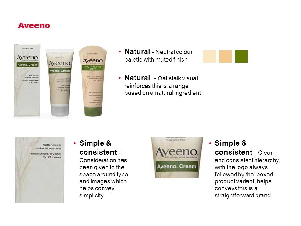 Aveeno Natural - Neutral colour palette with muted finish Natural - Oat stalk visual reinforces this is a range based on a natural ingredient Simple & consistent - Consideration has been given to the space around type and images which helps convey simplicity Simple & consistent - Clear and consistent hierarchy, with the logo always followed by the 'boxed' product variant, helps conveys this is a straightforward brand