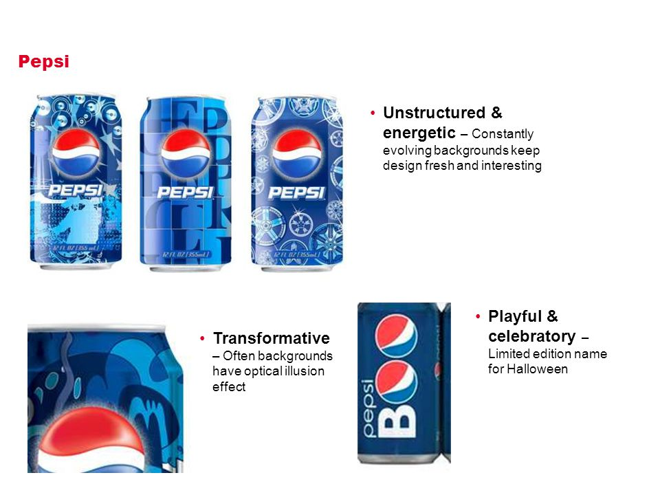 Pepsi Transformative – Often backgrounds have optical illusion effect Unstructured & energetic – Constantly evolving backgrounds keep design fresh and interesting Playful & celebratory – Limited edition name for Halloween