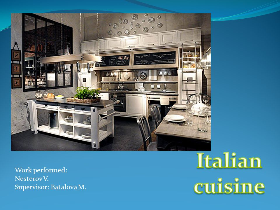 History Italian cuisine - traditional cuisine of Italy, widespread and popular in the world, thanks to such dishes as pizza and spaghetti.