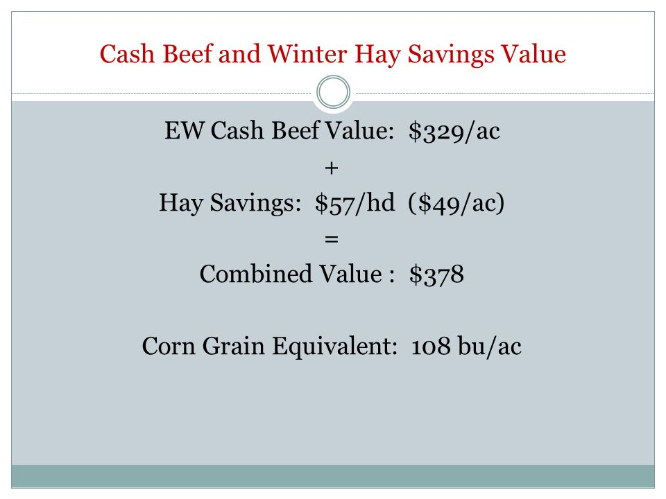 Cash Beef and Winter Hay Savings Value EW Cash Beef Value: $329/ac + Hay Savings: $57/hd ($49/ac) = Combined Value : $378 Corn Grain Equivalent: 108 b