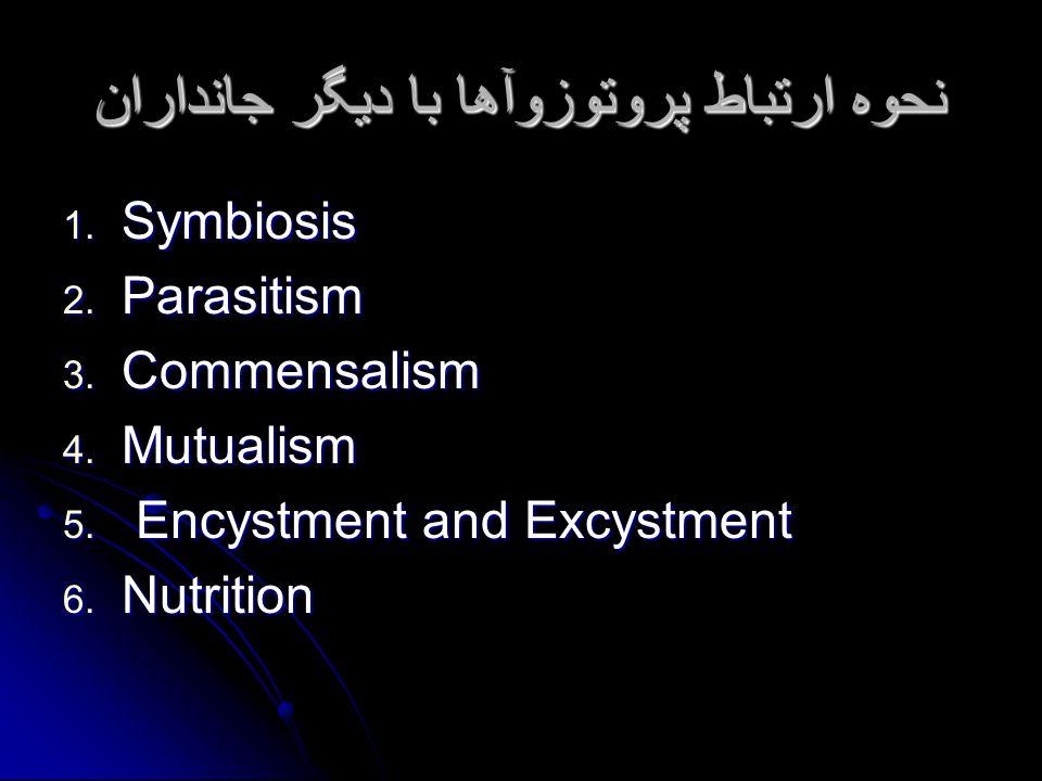 نحوه ارتباط پروتوزوآها با دیگر جانداران 1. Symbiosis 2.