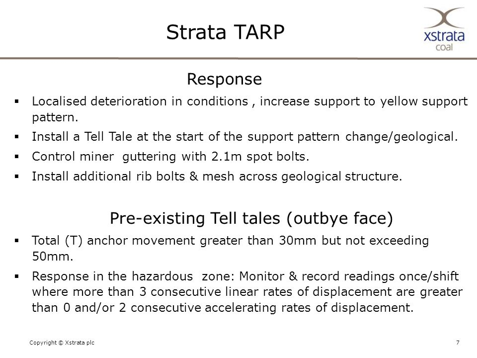 7Copyright © Xstrata plc Strata TARP Response  Localised deterioration in conditions, increase support to yellow support pattern.