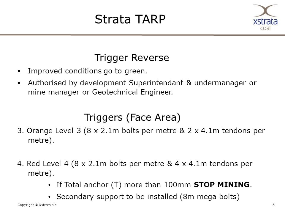 8Copyright © Xstrata plc Trigger Reverse  Improved conditions go to green.