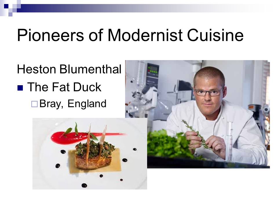 Pioneers of Modernist Cuisine Heston Blumenthal The Fat Duck  Bray, England