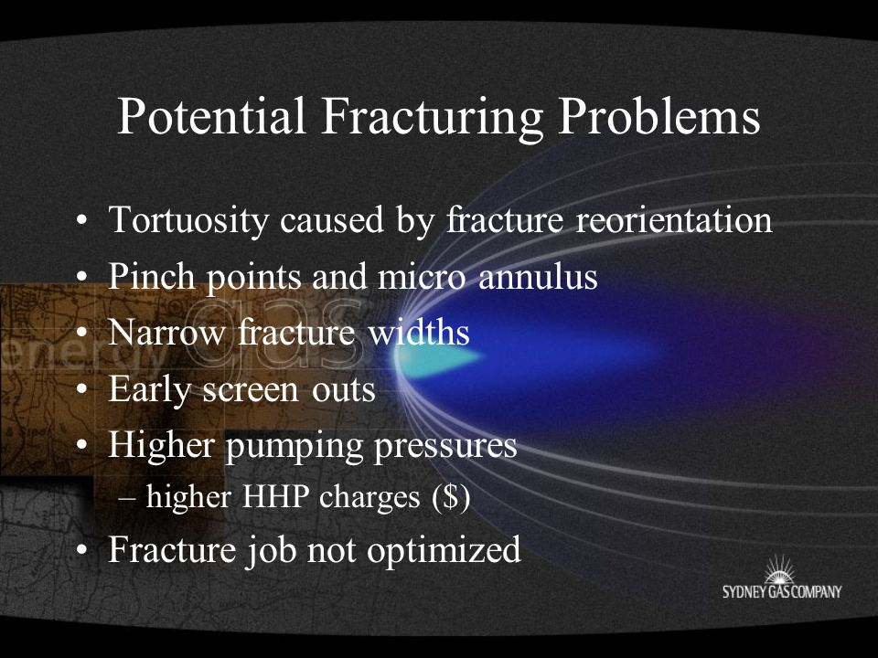 Potential Fracturing Problems Tortuosity caused by fracture reorientation Pinch points and micro annulus Narrow fracture widths Early screen outs Higher pumping pressures –higher HHP charges ($) Fracture job not optimized