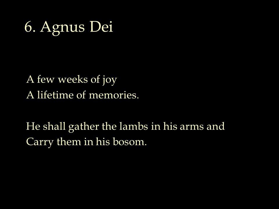 6. Agnus Dei A few weeks of joy A lifetime of memories.