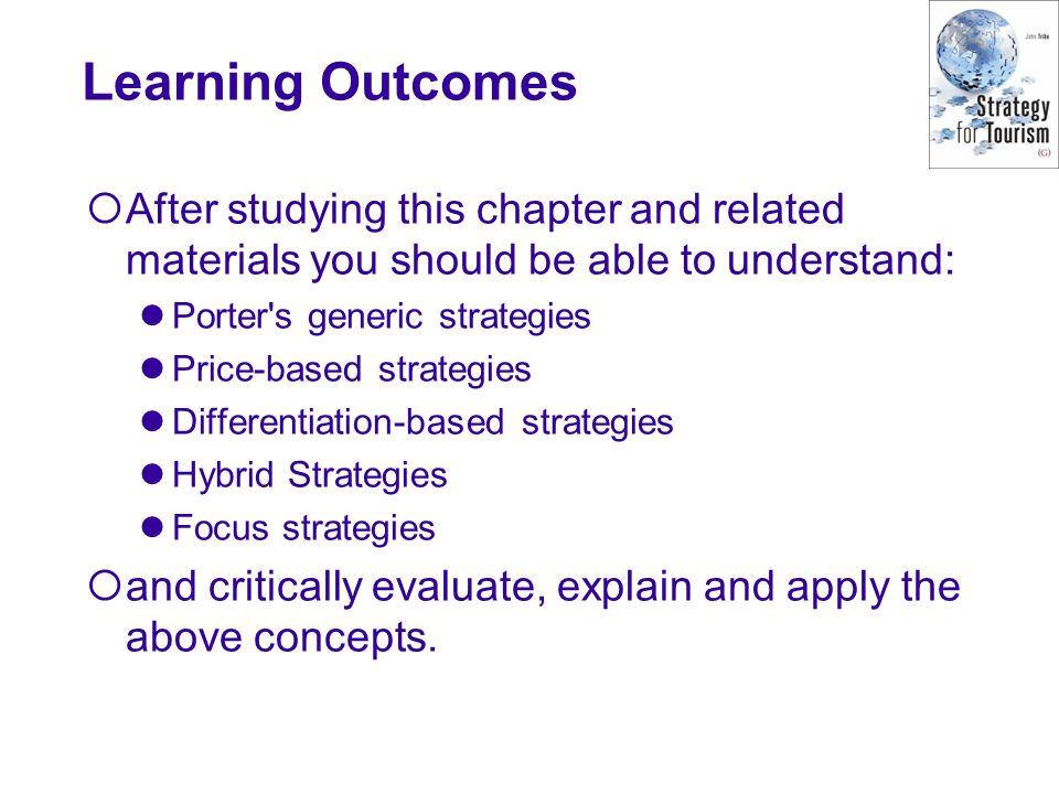 Learning Outcomes  After studying this chapter and related materials you should be able to understand: Porter's generic strategies Price-based strate