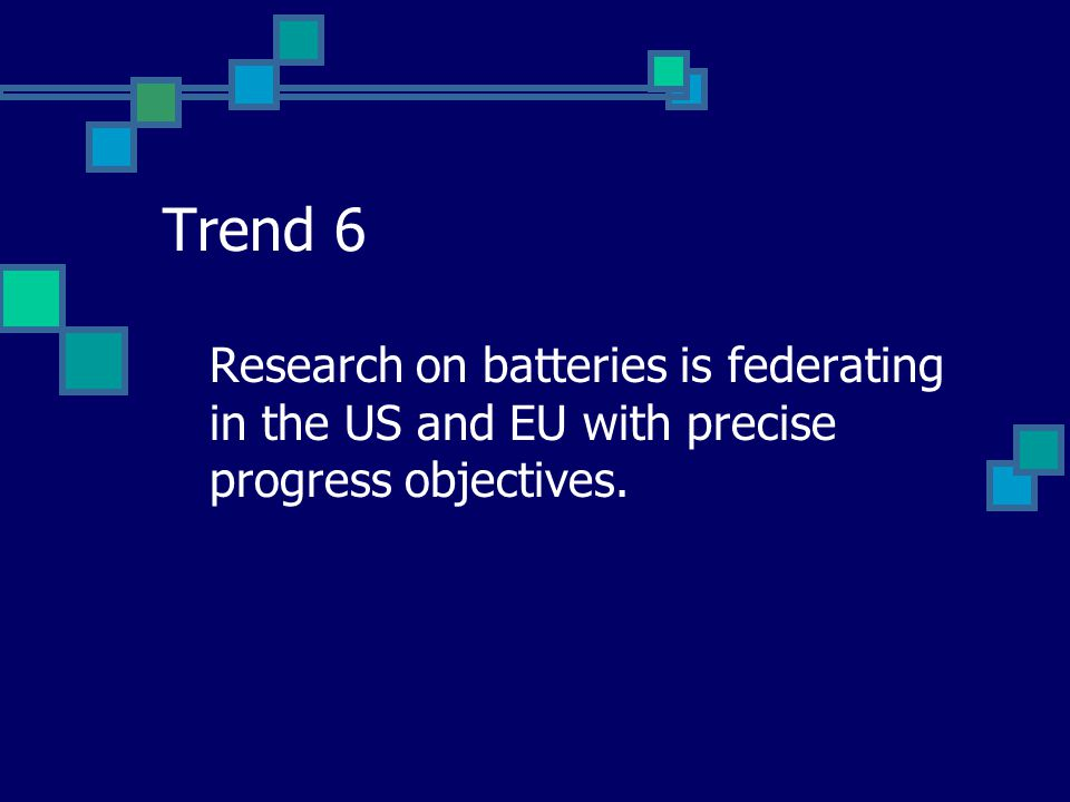 Trend 6 Research on batteries is federating in the US and EU with precise progress objectives.