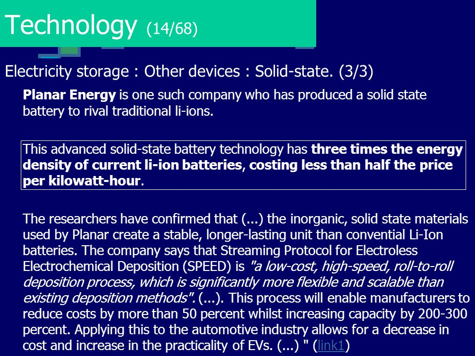 Technology (14/68) Electricity storage : Other devices : Solid-state. (3/3) Planar Energy is one such company who has produced a solid state battery t