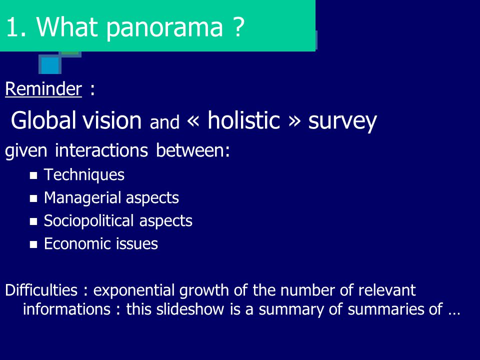 1. What panorama ? Reminder : Global vision and « holistic » survey given interactions between: Techniques Managerial aspects Sociopolitical aspects E