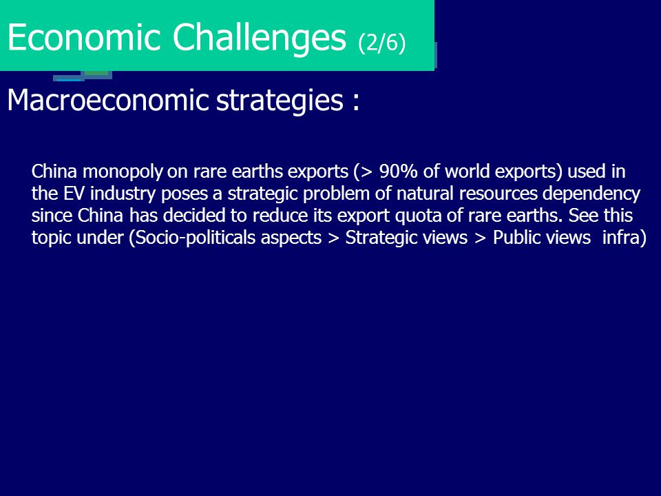 Economic Challenges (2/6) Macroeconomic strategies : China monopoly on rare earths exports (> 90% of world exports) used in the EV industry poses a st