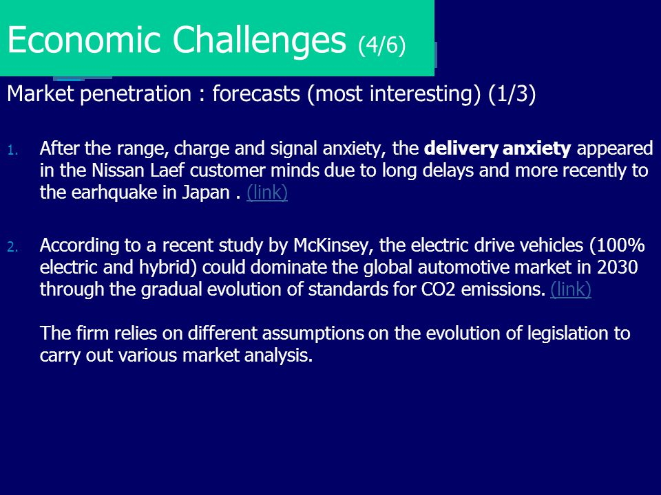 Economic Challenges (4/6) Market penetration : forecasts (most interesting) (1/3) 1. After the range, charge and signal anxiety, the delivery anxiety