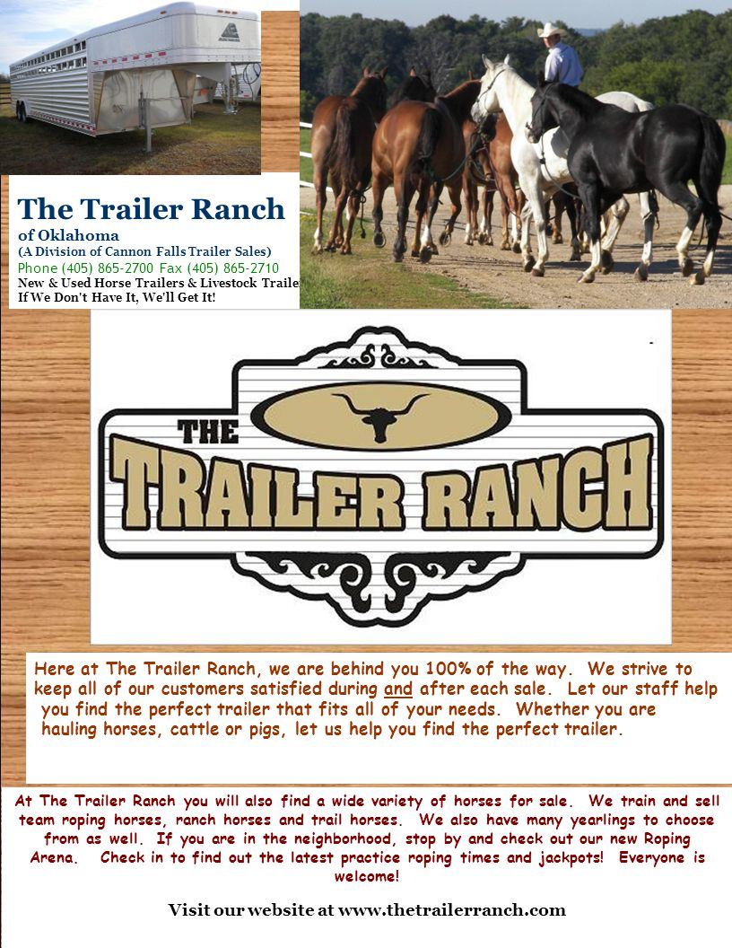 Welcome to Here at The Trailer Ranch, we are behind you 100% of the way.
