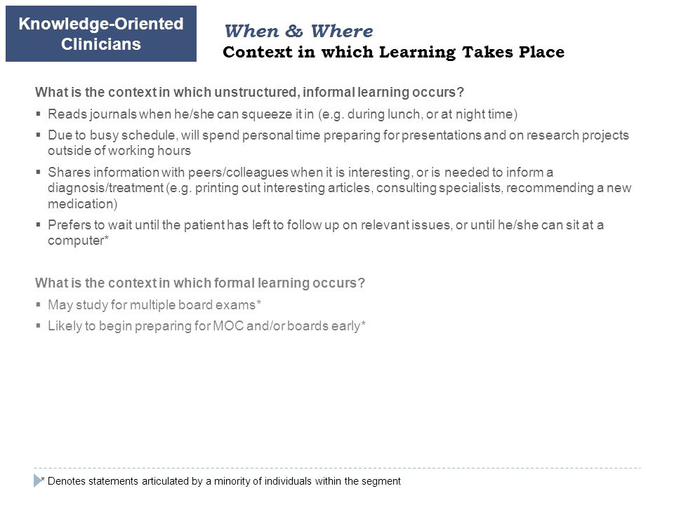 What is the context in which unstructured, informal learning occurs.