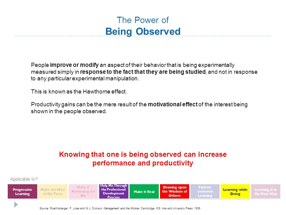 The Power of Being Observed People improve or modify an aspect of their behavior that is being experimentally measured simply in response to the fact that they are being studied, and not in response to any particular experimental manipulation.