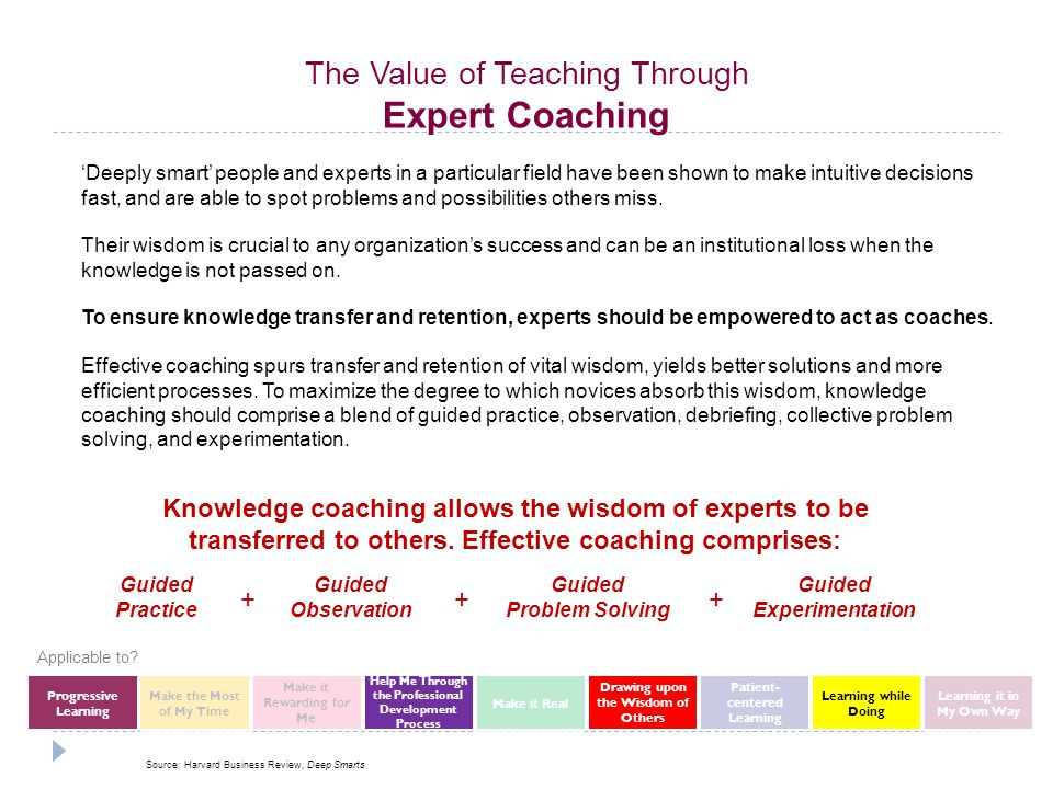 Knowledge coaching allows the wisdom of experts to be transferred to others.