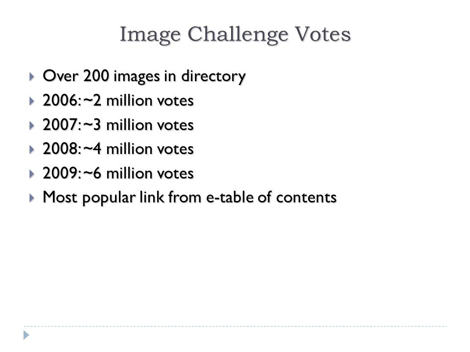 Image Challenge Votes  Over 200 images in directory  2006: ~2 million votes  2007: ~3 million votes  2008: ~4 million votes  2009: ~6 million votes  Most popular link from e-table of contents