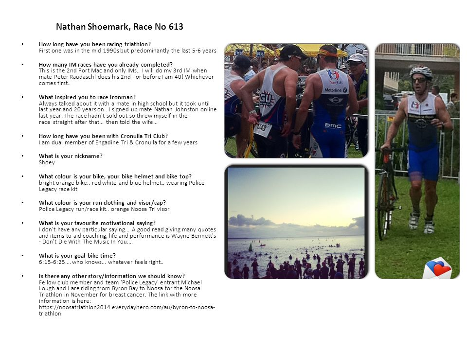 Nathan Shoemark, Race No 613 How long have you been racing triathlon.