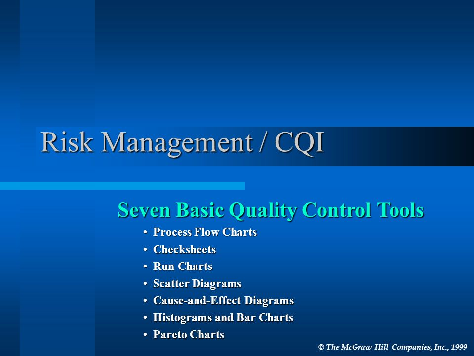 Risk Management / CQI Seven Basic Quality Control Tools Process Flow Charts Process Flow Charts Checksheets Checksheets Run Charts Run Charts Scatter Diagrams Scatter Diagrams Cause-and-Effect Diagrams Cause-and-Effect Diagrams Histograms and Bar Charts Histograms and Bar Charts Pareto Charts Pareto Charts © The McGraw-Hill Companies, Inc., 1999