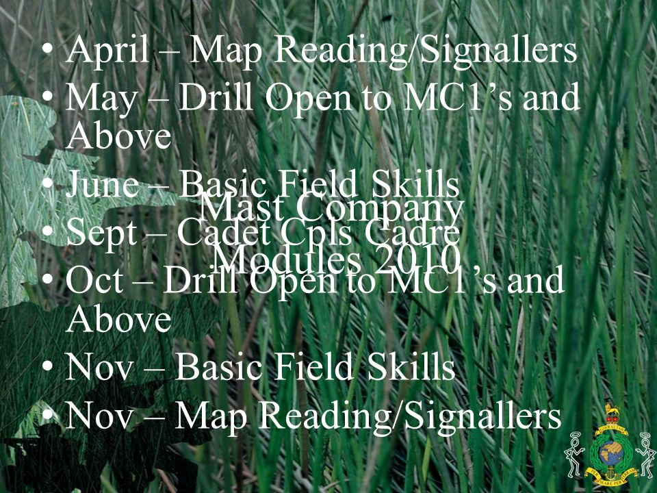 Mast Company Modules 2010 April – Map Reading/Signallers May – Drill Open to MC1's and Above June – Basic Field Skills Sept – Cadet Cpls Cadre Oct – Drill Open to MC1's and Above Nov – Basic Field Skills Nov – Map Reading/Signallers