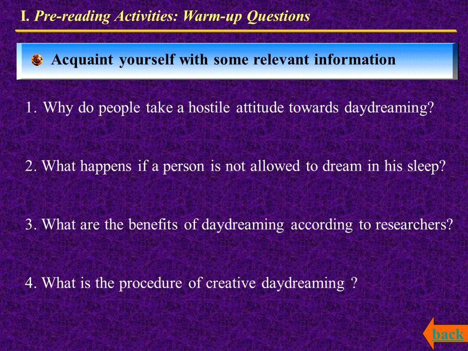 Pre-reading Activities Expressions & Patterns Exercises Text Analysis Warm-up Questions How to applying to our real life the typical expressions and p
