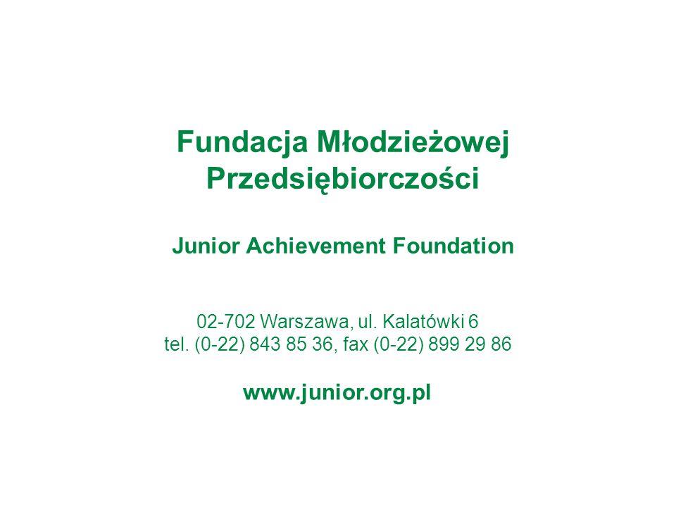 02-702 Warszawa, ul. Kalatówki 6 tel. (0-22) 843 85 36, fax (0-22) 899 29 86 www.junior.org.pl Fundacja Młodzieżowej Przedsiębiorczości Junior Achieve