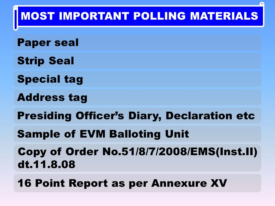 16 Point Report as per Annexure XV Paper seal Strip Seal Presiding Officer's Diary, Declaration etc Sample of EVM Balloting Unit Copy of Order No.51/8