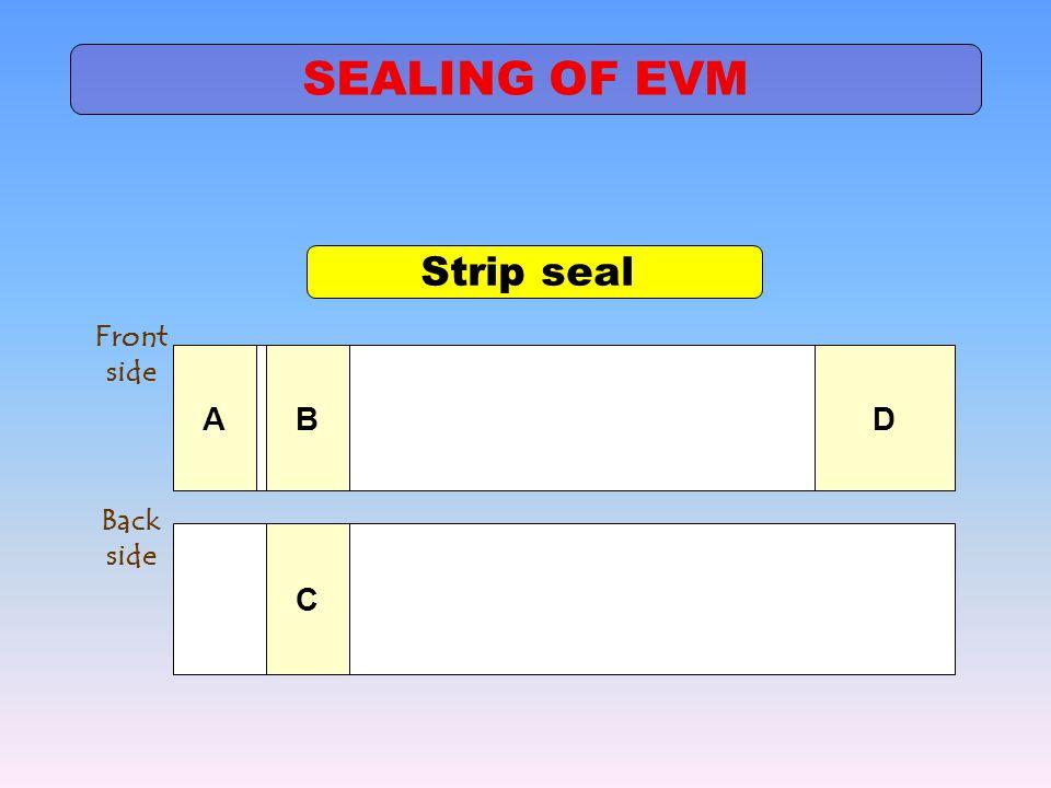 Strip seal ABD Front side C Back side SEALING OF EVM