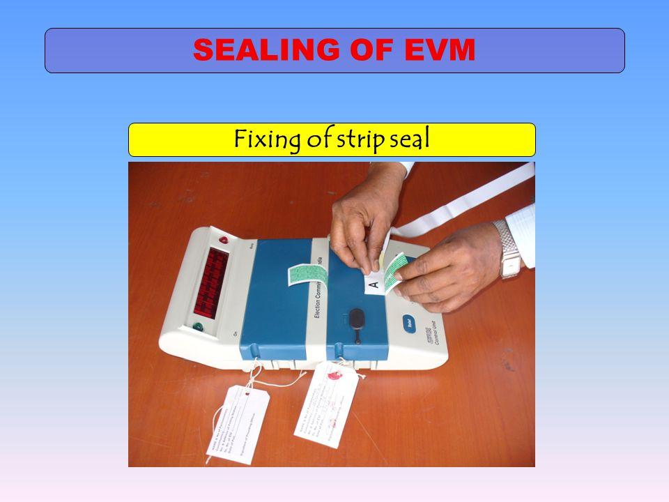Fixing of strip seal SEALING OF EVM