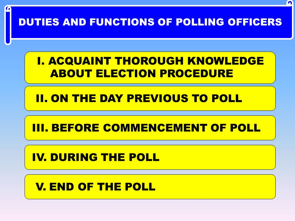 I. ACQUAINT THOROUGH KNOWLEDGE ABOUT ELECTION PROCEDURE II. ON THE DAY PREVIOUS TO POLL III. BEFORE COMMENCEMENT OF POLL IV. DURING THE POLL V. END OF