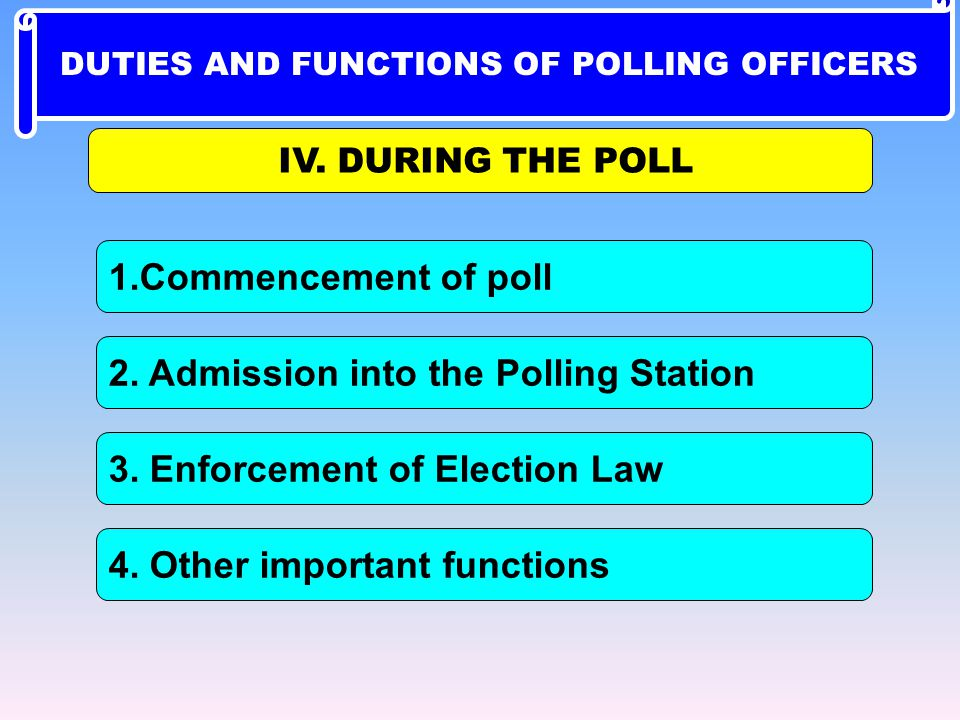 1.Commencement of poll 4. Other important functions 2. Admission into the Polling Station 3. Enforcement of Election Law IV. DURING THE POLL DUTIES AN