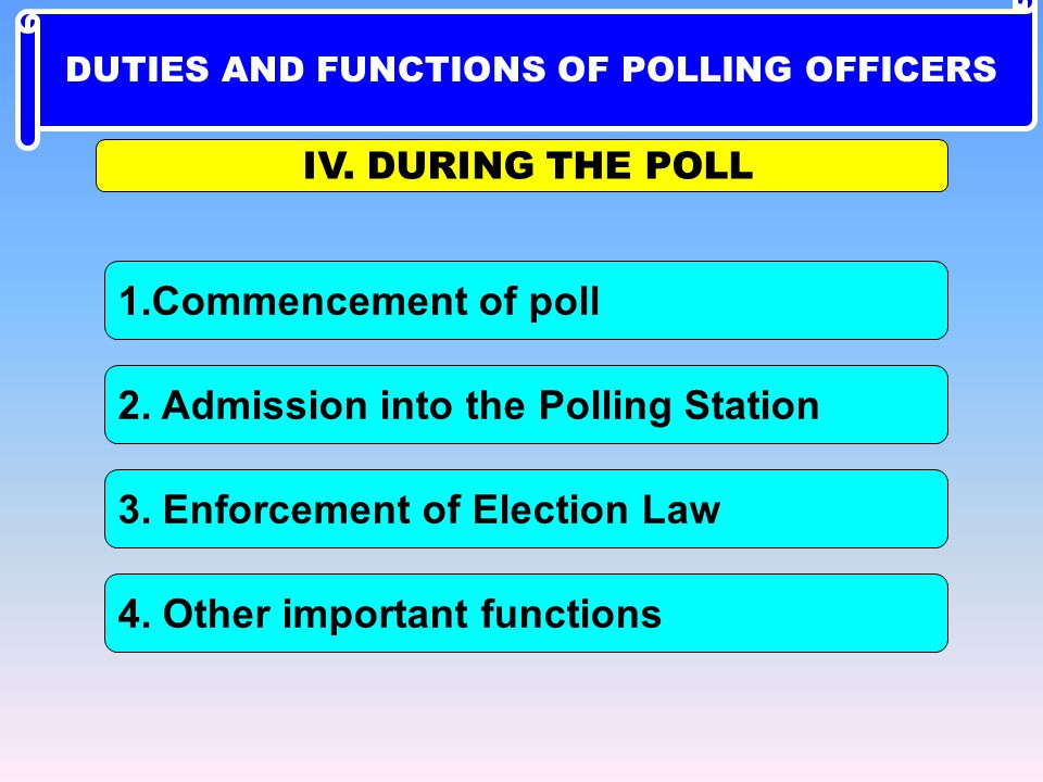 1.Commencement of poll IV. DURING THE POLL 4. Other important functions 2. Admission into the Polling Station 3. Enforcement of Election Law DUTIES AN