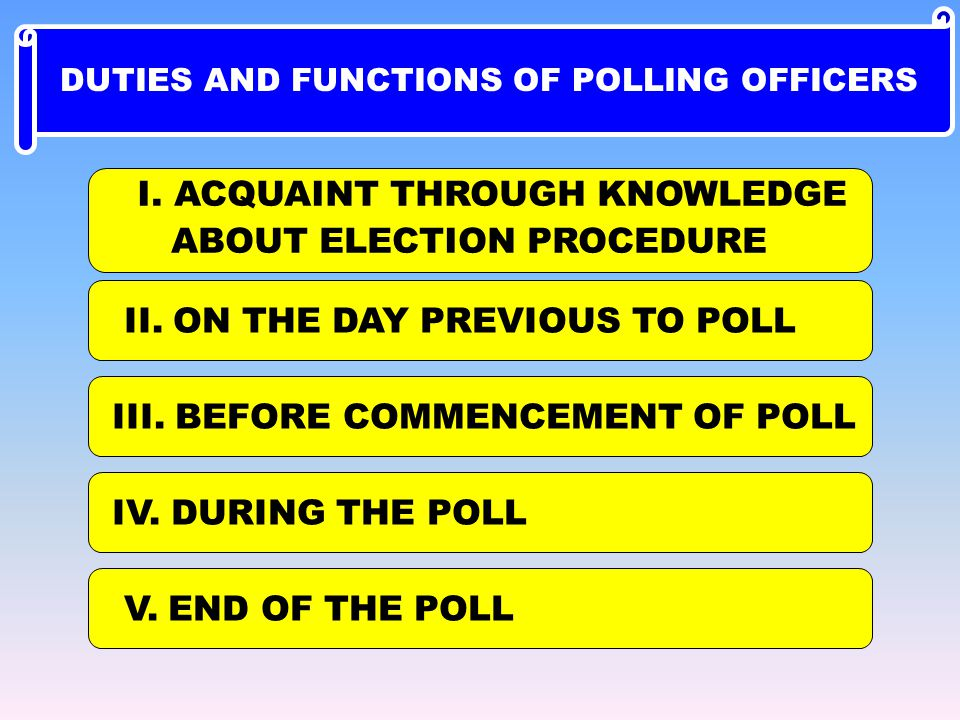 I. ACQUAINT THROUGH KNOWLEDGE ABOUT ELECTION PROCEDURE II. ON THE DAY PREVIOUS TO POLL III. BEFORE COMMENCEMENT OF POLL IV. DURING THE POLL V. END OF