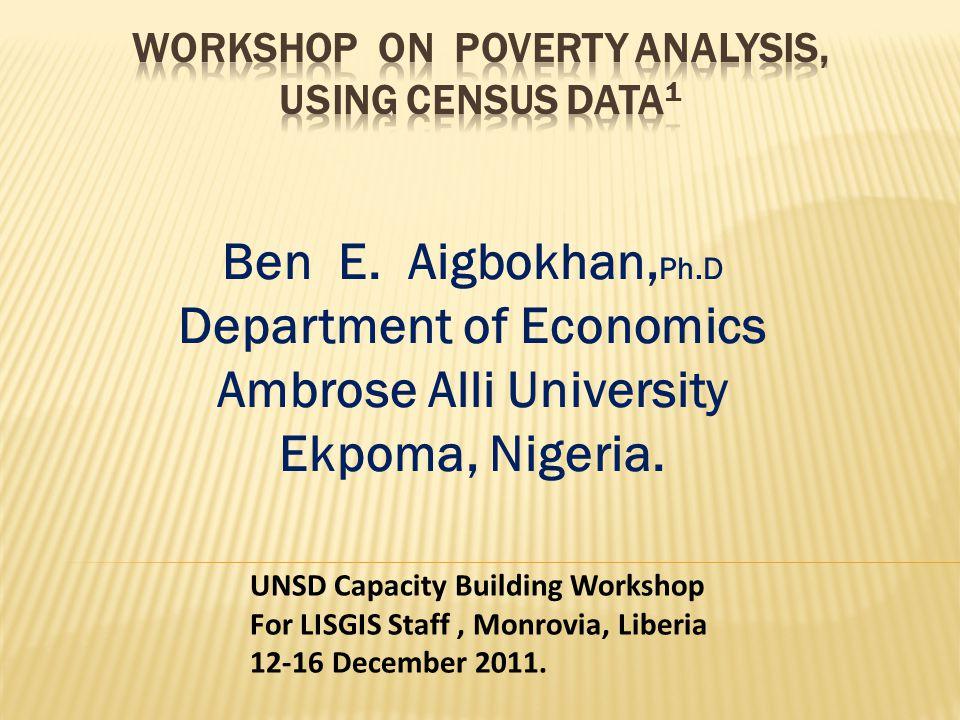 Ben E.Aigbokhan, Ph.D Department of Economics Ambrose Alli University Ekpoma, Nigeria.