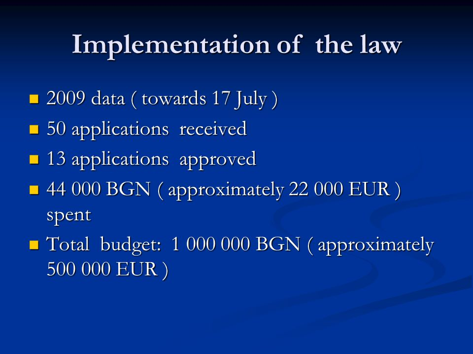 Implementation of the law 2009 data ( towards 17 July ) 2009 data ( towards 17 July ) 50 applications received 50 applications received 13 applications approved 13 applications approved 44 000 BGN ( approximately 22 000 EUR ) spent 44 000 BGN ( approximately 22 000 EUR ) spent Total budget: 1 000 000 BGN ( approximately 500 000 EUR ) Total budget: 1 000 000 BGN ( approximately 500 000 EUR )