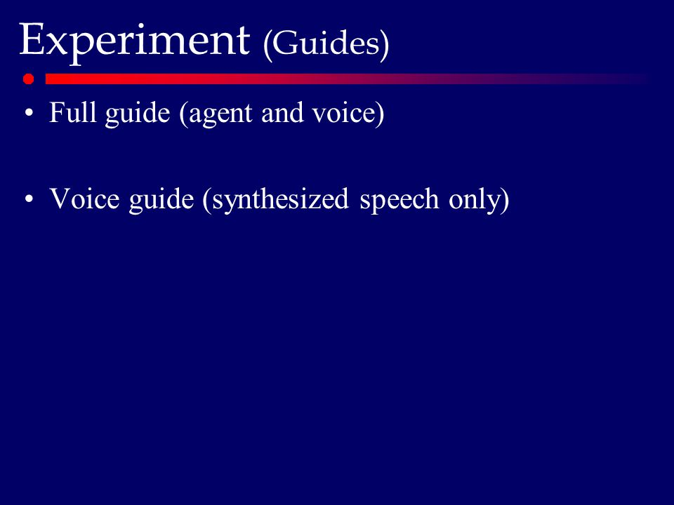 Experiment (Guides) Full guide (agent and voice) Voice guide (synthesized speech only)