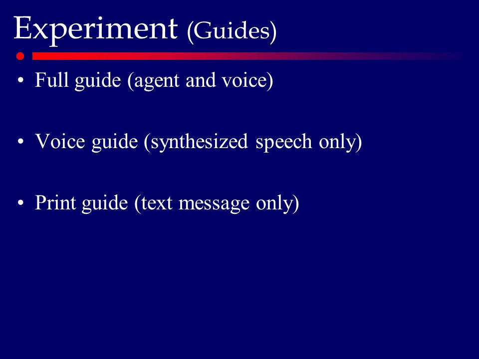 Experiment (Guides) Full guide (agent and voice) Voice guide (synthesized speech only) Print guide (text message only)