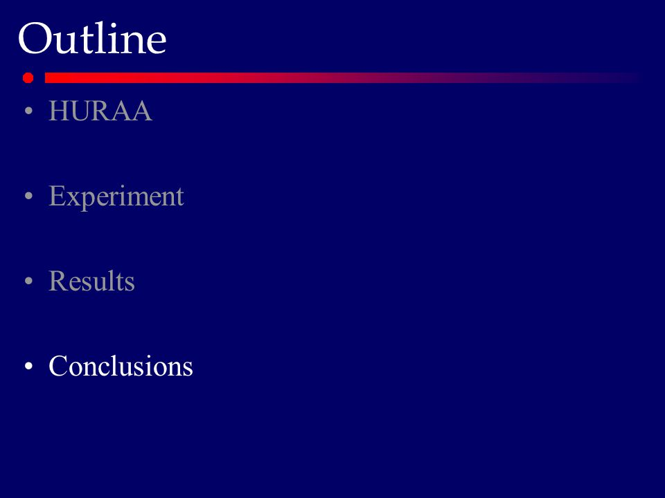 Outline HURAA Experiment Results Conclusions