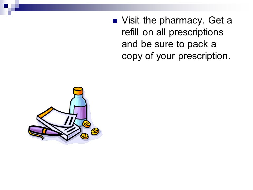 Visit the pharmacy.