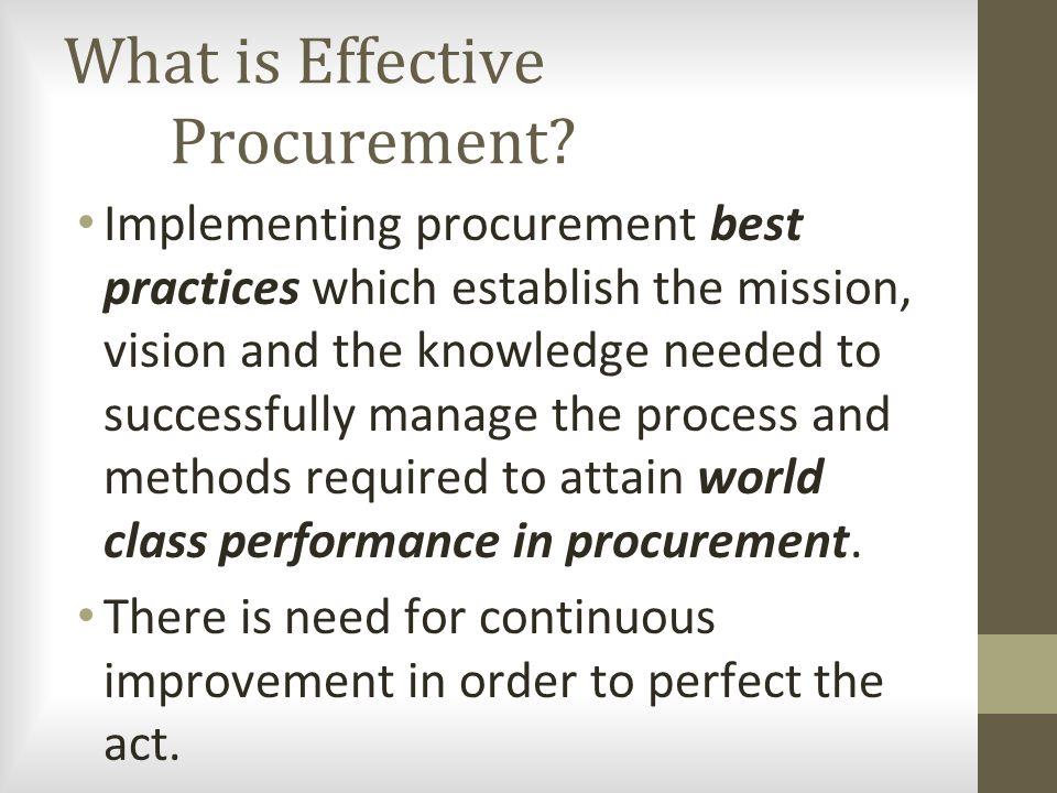 What is Effective Procurement.