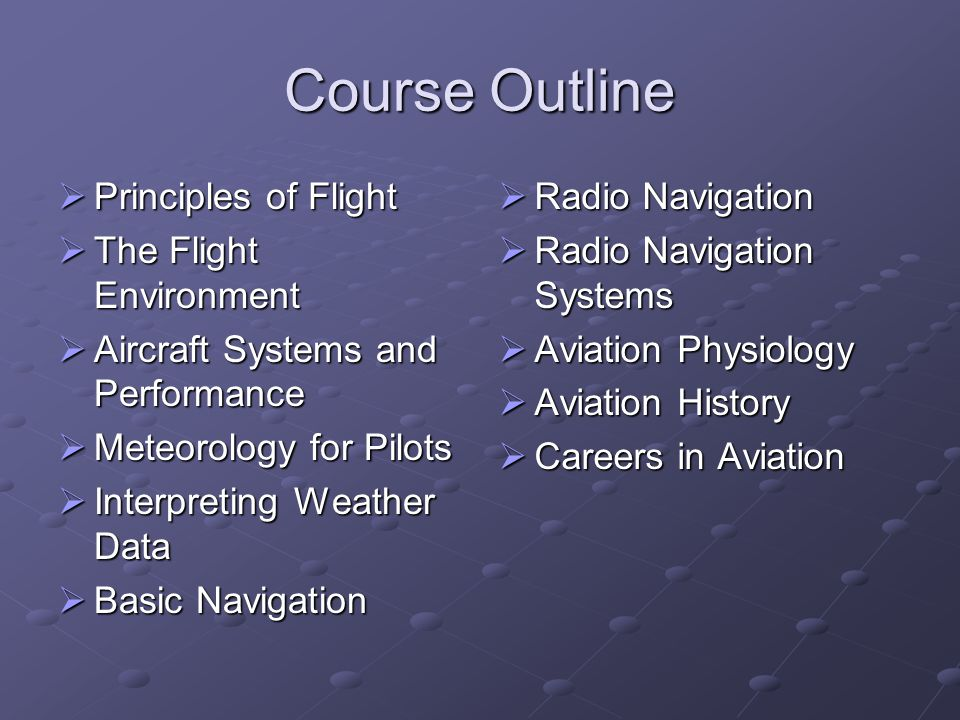 Course Outline  Principles of Flight  The Flight Environment  Aircraft Systems and Performance  Meteorology for Pilots  Interpreting Weather Data
